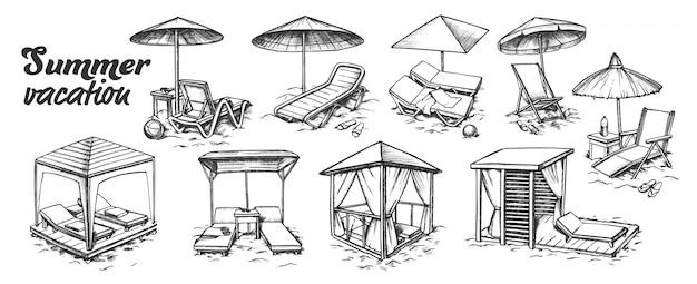 Set di mobili da spiaggia per vacanze estive Vettore Premium