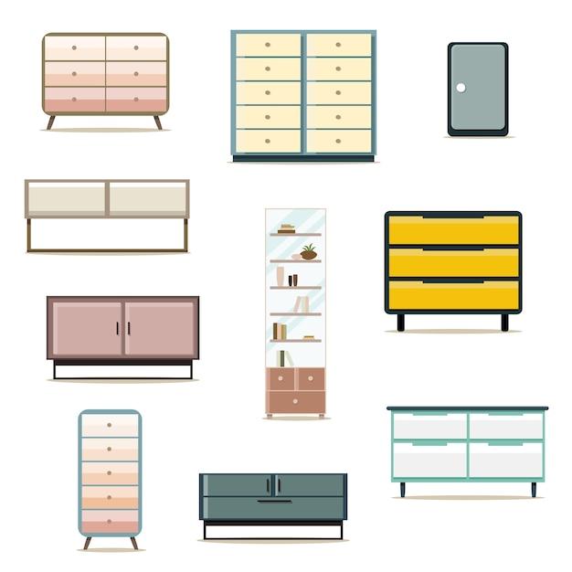 Set di mobili di design di mobili di design piatto Vettore Premium