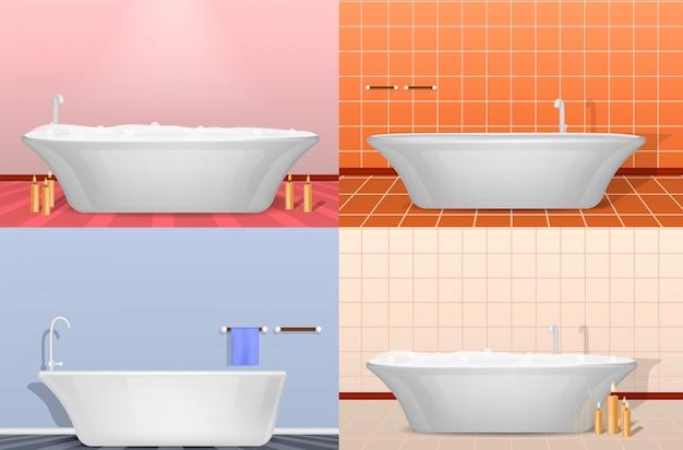 Set di mock-up interno per doccia vasca. illustrazione realistica di 4 mockup interni doccia per vasca da bagno Vettore Premium