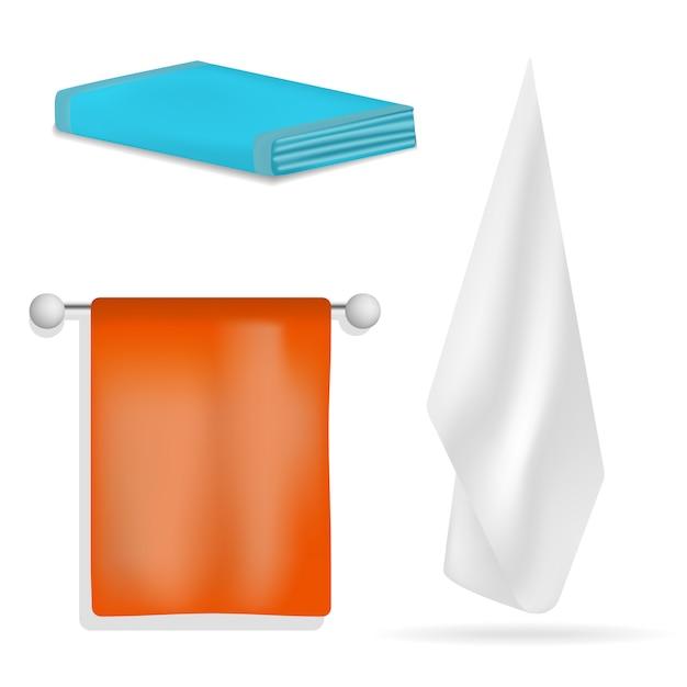 Set di mockup da bagno con asciugamano e spa. un'illustrazione realistica di 4 modelli d'attaccatura del bagno della stazione termale dell'asciugamano per il web Vettore Premium