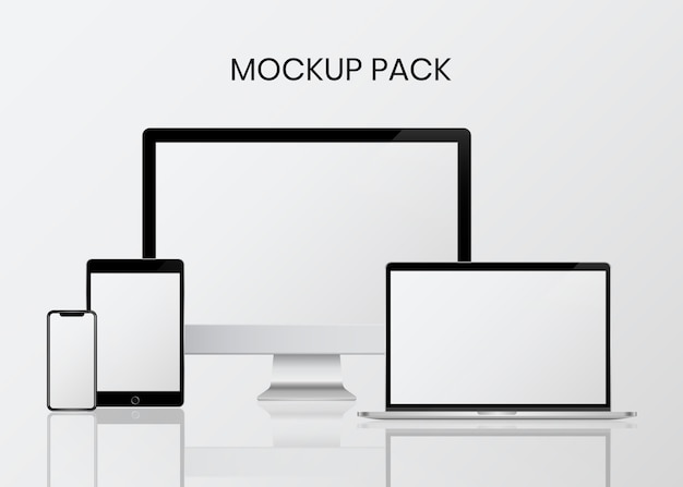 Set di mockup del dispositivo digitale Vettore gratuito