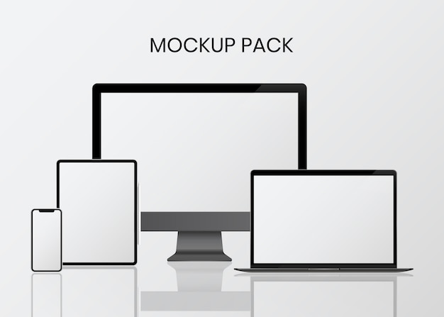 Set di mockup del dispositivo digitale Vettore gratuito