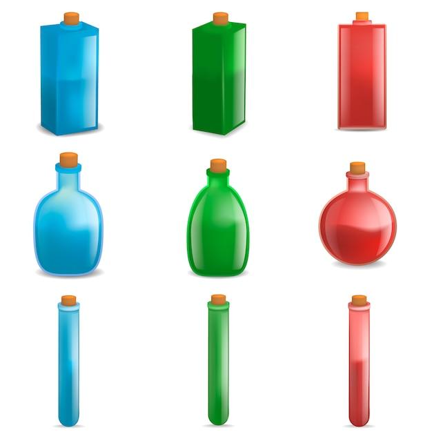 Set di mockup di bottiglia magica di pozione. un'illustrazione realistica di 9 modelli di vettore di bottiglia magica pozione per il web Vettore Premium