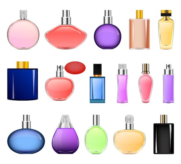 Set di mockup di bottiglie di profumo Vettore Premium