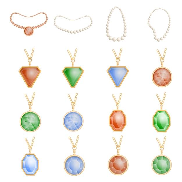 Set di mockup di catena di gioielli di collana. illustrazione realistica di 16 modelli di catene di gioielli da collana per il web Vettore Premium