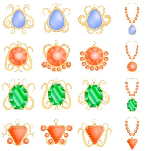 Set di mockup di diamante di lusso donna gioielli. illustrazione realistica di 16 modelli di diamanti di lusso donna gioielli per il web Vettore Premium