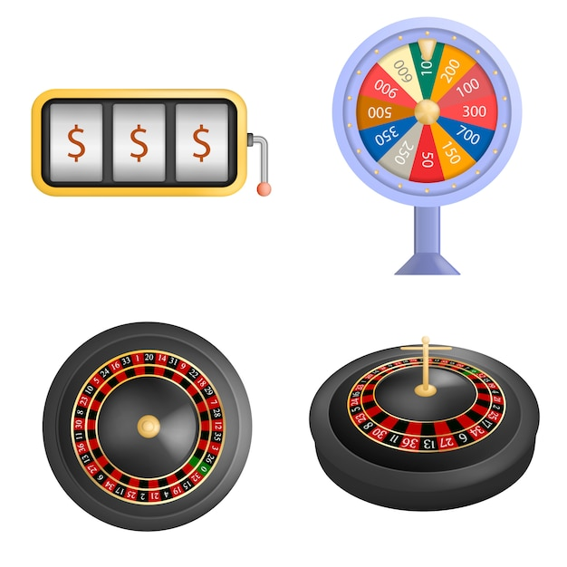 Set di mockup di gioco di spin fortuna fortuna ruota. un'illustrazione realistica di 4 modelli di gioco di spin di fortuna ruota della roulette per il web Vettore Premium