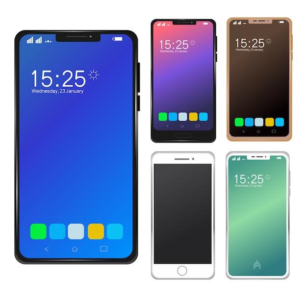 Set di mockup di smartphone mobili moderni. Vettore Premium