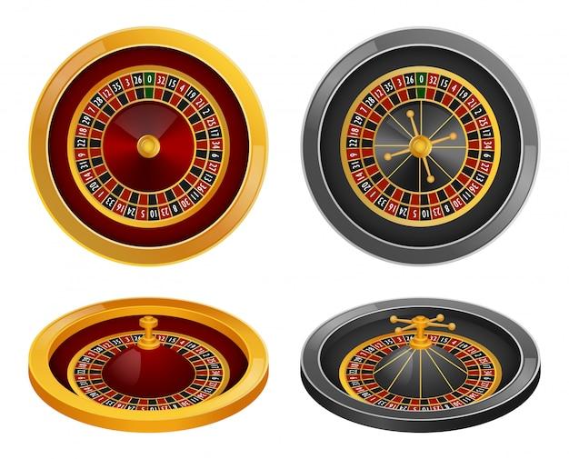 Set di mockup di spin della ruota della roulette Vettore Premium