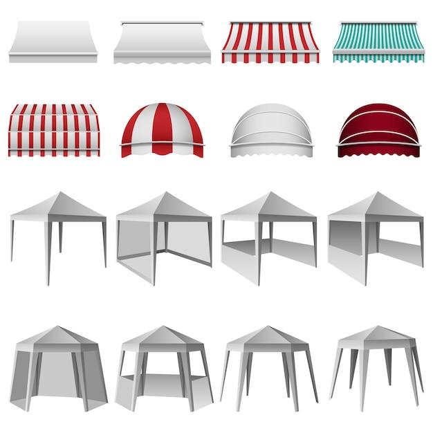 Set di mockup sporgenza tettoia canopy Vettore Premium