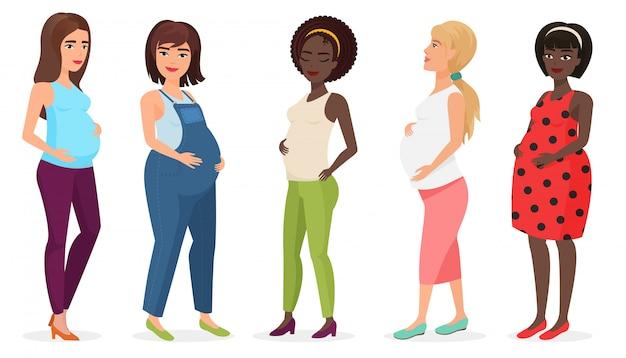 Set di moda incinta. felice donna mamma aspetta bambino in abiti. Vettore Premium