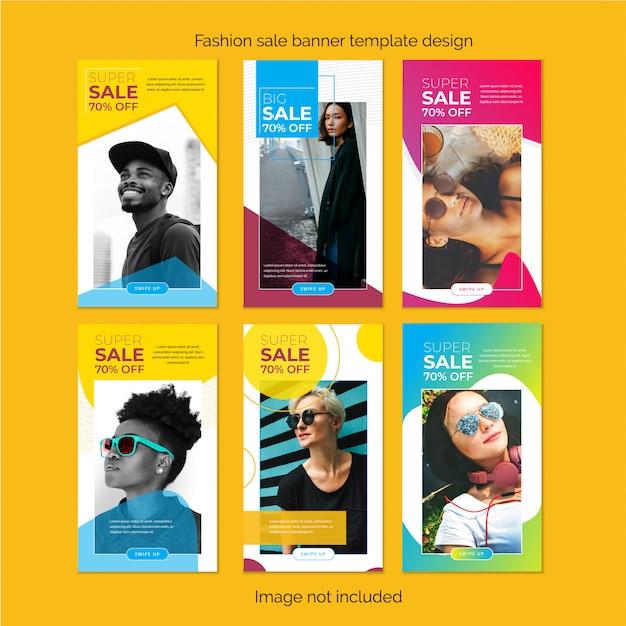 Set di moda modello storia instagram design Vettore Premium