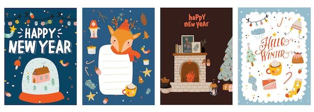 Biglietti Di Natale Modelli.Vettore Premium Set Di Modelli Di Biglietti Di Auguri Di Natale Festivo Cartoline Di Buon Natale E Felice Anno Nuovo Confezione Di Poster
