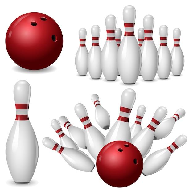Set di modelli di bowling Vettore Premium