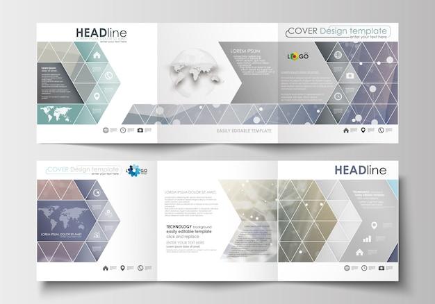 Set di modelli di business per brochure tri-fold. design quadrato. struttura della molecola del dna Vettore Premium