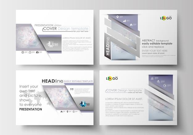 Set di modelli di business per diapositive di presentazione. struttura della molecola scienza, medicina ve Vettore Premium
