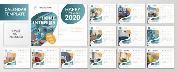 Set di modelli di calendario da tavolo minimalista 2020 Vettore Premium