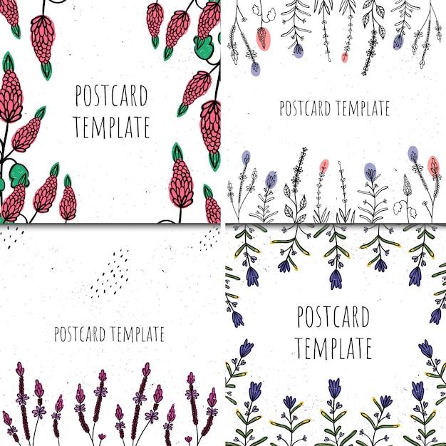 Set di modelli di carte. stile disegnato a mano. piante e astrazione Vettore Premium