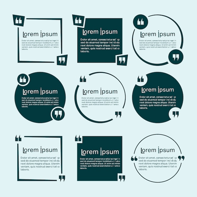 Set di modelli di citazioni Vettore Premium
