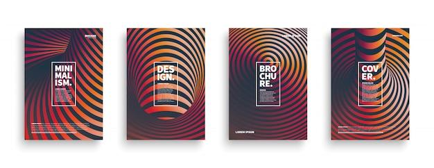 Set di modelli di copertina diversi a strisce 3d Vettore Premium