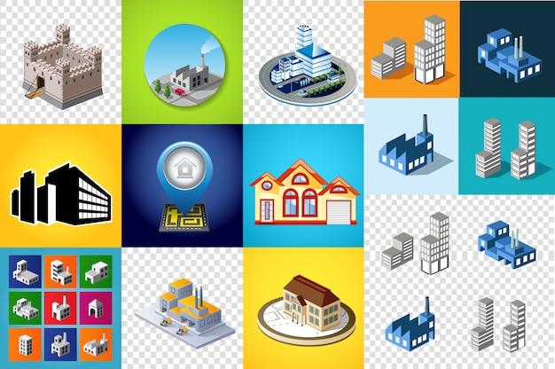 Set di modelli di design, elementi di design, edifici oggetti isometrici Vettore Premium