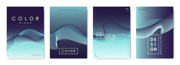 Set di modelli di design per copertine con sfondo sfumato vibrante. Vettore Premium