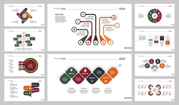 Set di modelli di diapositive di dieci flussi di lavoro Vettore gratuito