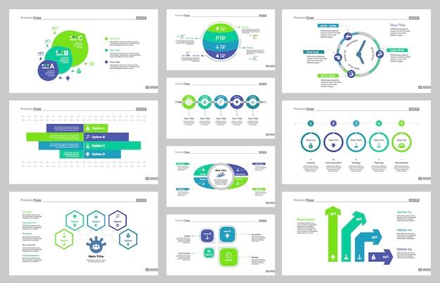 Set di modelli di diapositive di produzione Vettore gratuito