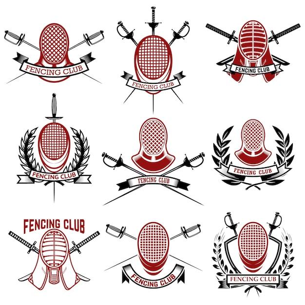 Set di modelli di emblemi club di scherma. rapira, scherma la guardia del viso. elementi per logo, etichetta, badge, segno, marchio. illustrazione Vettore Premium