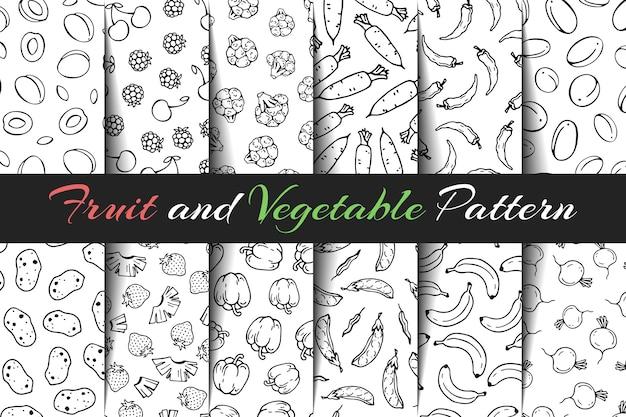 Set di modelli di frutta e verdura vettoriale. Vettore Premium
