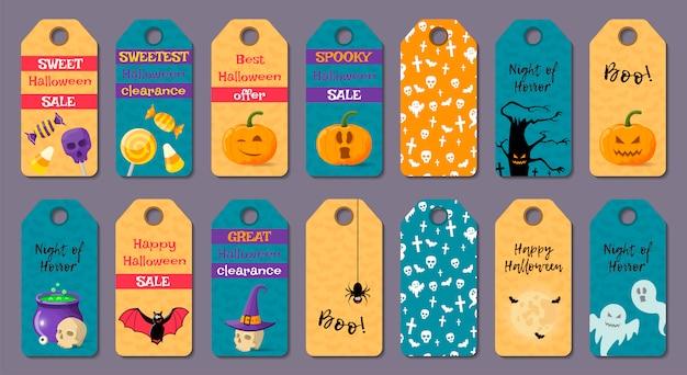 Set di modelli di halloween del fumetto. Vettore Premium