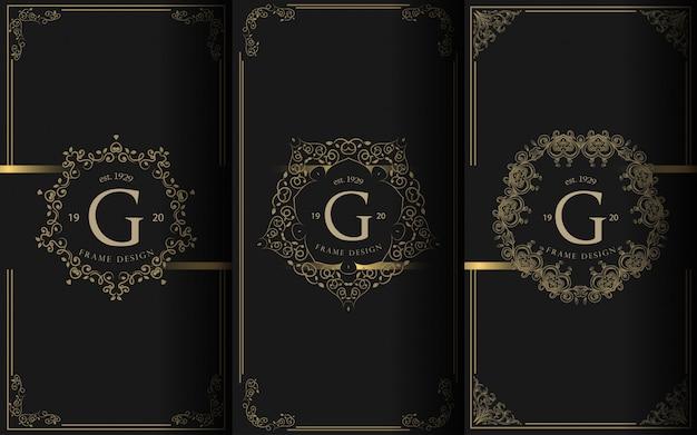 Set di modelli di imballaggio con elemento di design ornamento, etichetta, logo. Vettore Premium
