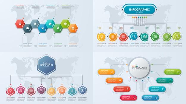 Set di modelli di infografica di presentazione aziendale con 8 opzioni Vettore Premium