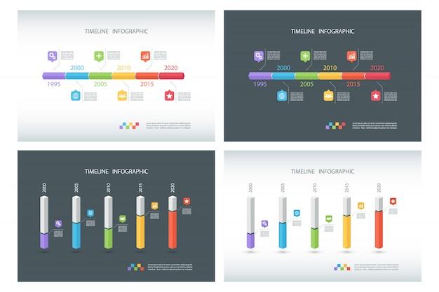 Set di modelli di infografica timeline. Vettore Premium