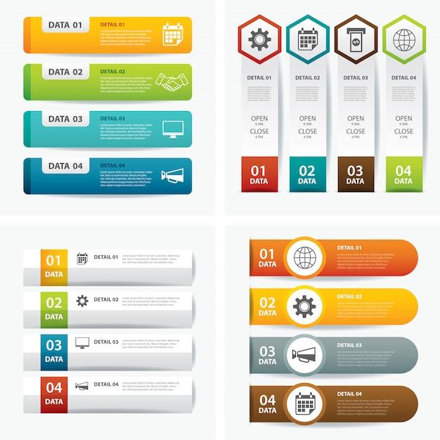 Set di modelli di infografica Vettore Premium