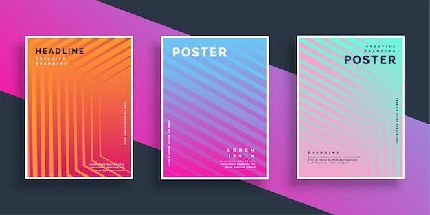 Set di modelli di linea vibrante flyer Vettore gratuito