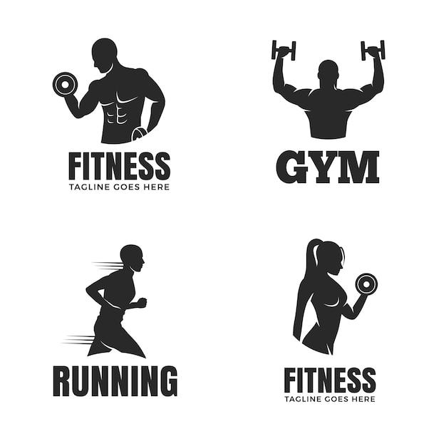 Set di modelli di logo di fitness isolato su priorità bassa bianca Vettore Premium