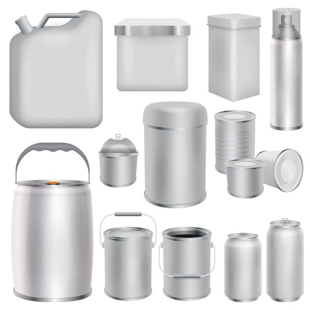 Set di modelli di packaging in metallo. illustrazione realistica di 10 modelli di packaging in metallo per il web Vettore Premium
