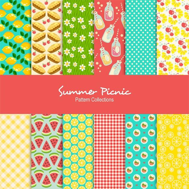 Set di modelli di pic-nic estivi Vettore Premium