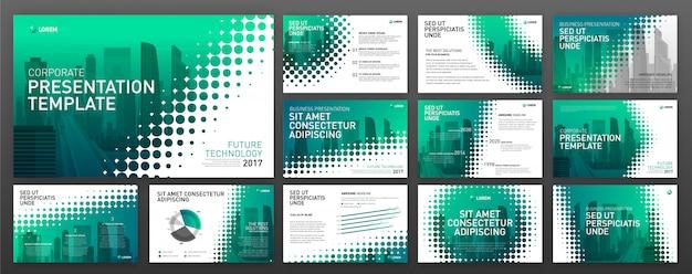 Set di modelli di powerpoint presentazione aziendale Vettore Premium