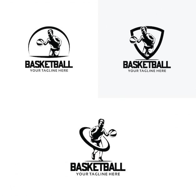 Set di modelli di progettazione logo basket Vettore Premium