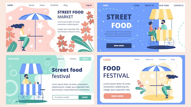 Set di modelli di siti web mercato alimentare di strada Vettore Premium