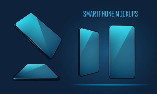 Set di modelli di smartphone mockup Vettore Premium