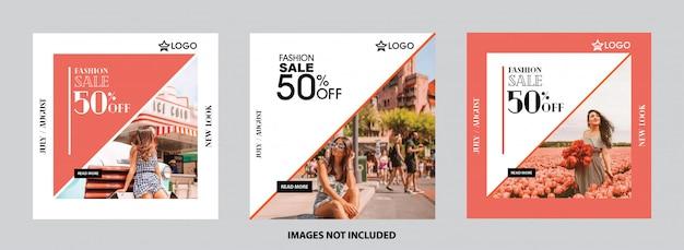 Set di modelli di social media. banner esclusivo, vendita, offerta e sconto Vettore Premium
