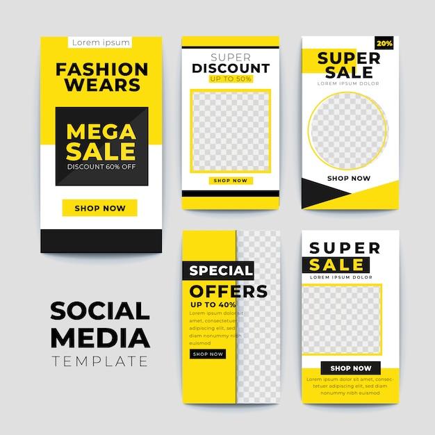 Set di modelli di storie instagram vendita moderna Vettore Premium