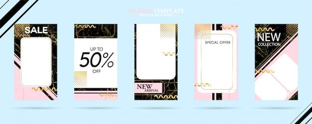 Set di modelli di storie sociali social pack con texture di marmo alla moda di lusso Vettore Premium
