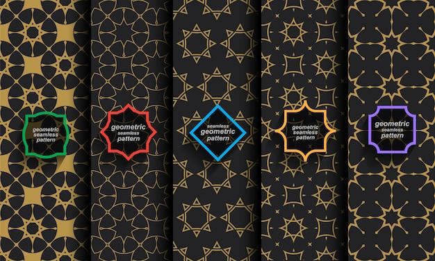 Set di modelli islamici senza cuciture neri e oro Vettore Premium