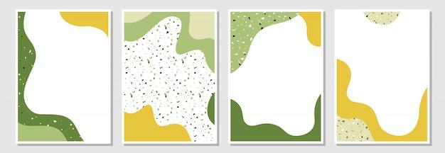 Set di modelli moderni con forme liquide e texture terrazzo. Vettore Premium