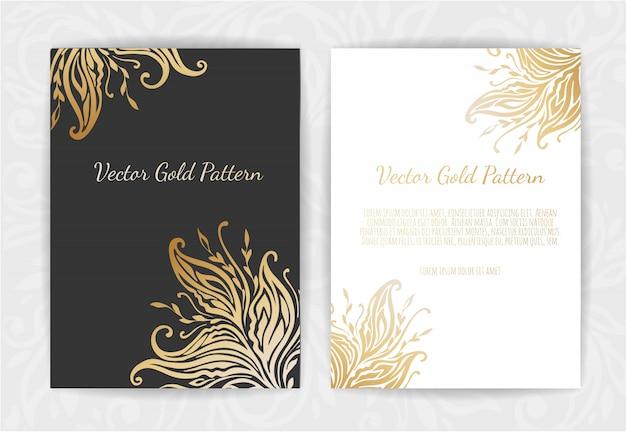 Set di modelli neri e oro Vettore Premium