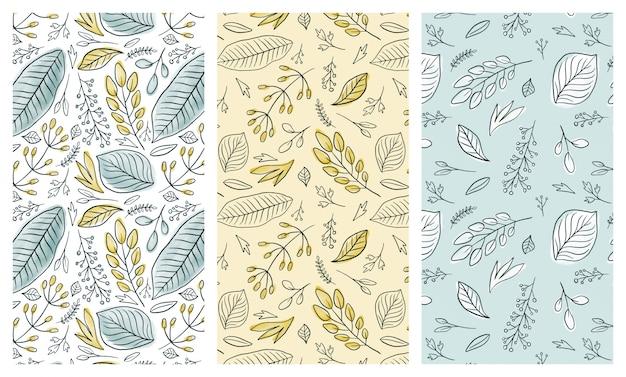 Set di modelli senza cuciture foglie d'inchiostro acquerello Vettore Premium